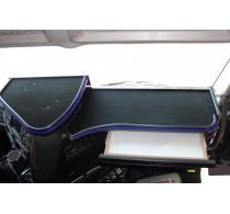 Iveco Stralis Hi-Way Passform 2x Tisch Ablage Armaturentisch Velour Schwarz Blau