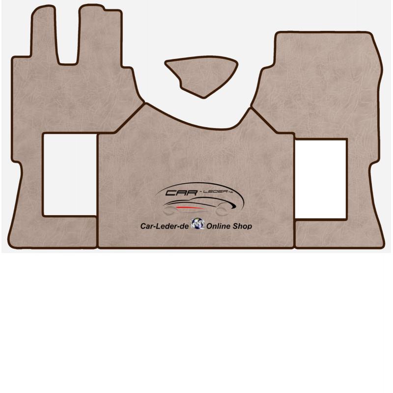 Fußmatten + Tunnelabdeckung aus Kunstleder in Beige glatt passend für Mercedes Actros MP4 2011 - 2018 Automatik Getriebe Beifahrersitz Klappbar