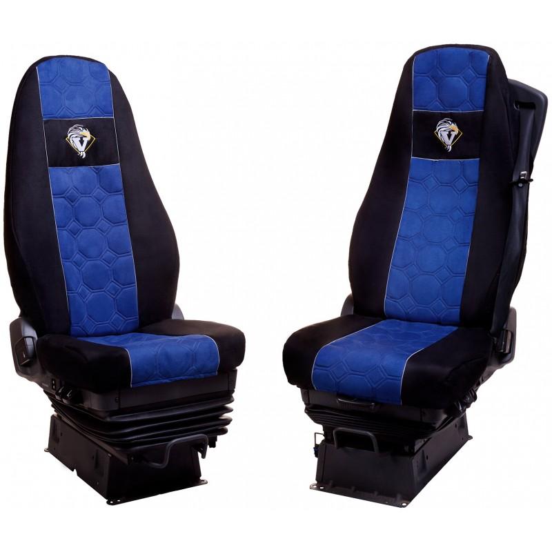 Schonbezüge Auto Sitzbezüge Velour - Stoff für LKW Volvo FH ab 2008 / FH4 ab 2014 Schwarz - Blau