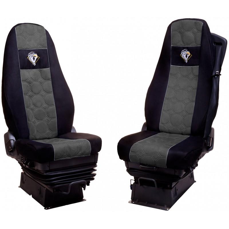 Schonbezüge Auto Sitzbezüge Velour - Stoff für LKW Volvo FH ab 2008 / FH4 ab 2014 Schwarz - Grau