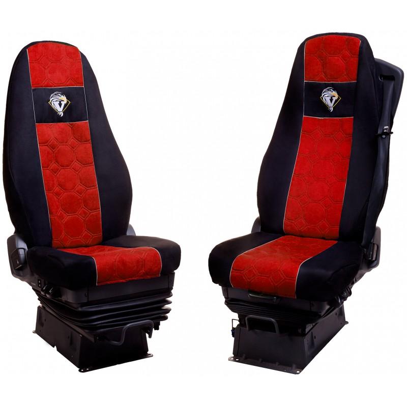 Schonbezüge Auto Sitzbezüge Velour - Stoff für LKW Volvo FH ab 2008 / FH4 ab 2014 Schwarz - Rot