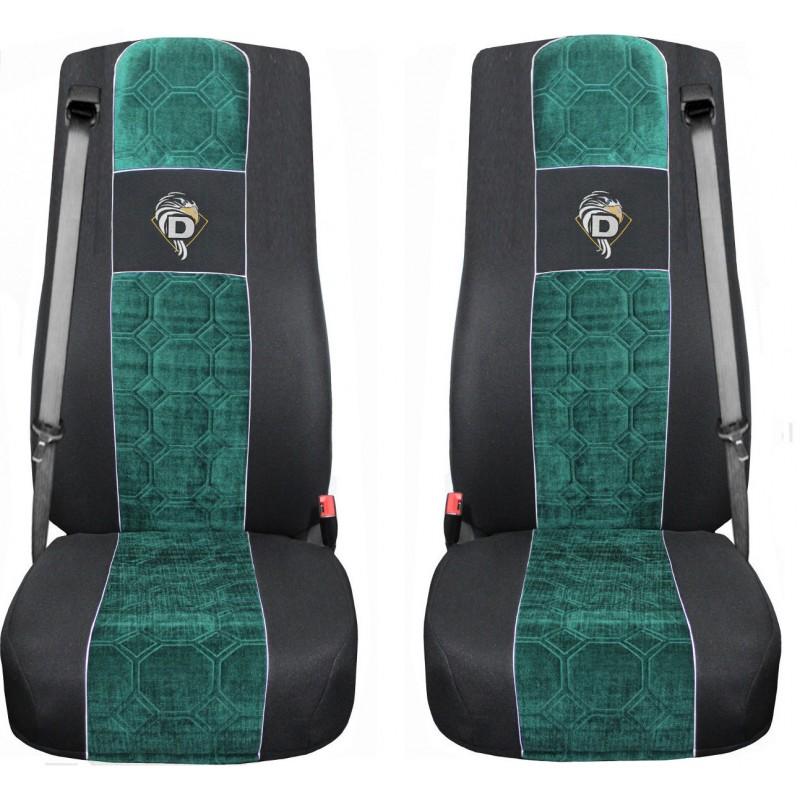 Schonbezüge Auto Sitzbezüge Velour - Stoff für LKW DAF XF 105 / XF 106 Schwarz - Grün