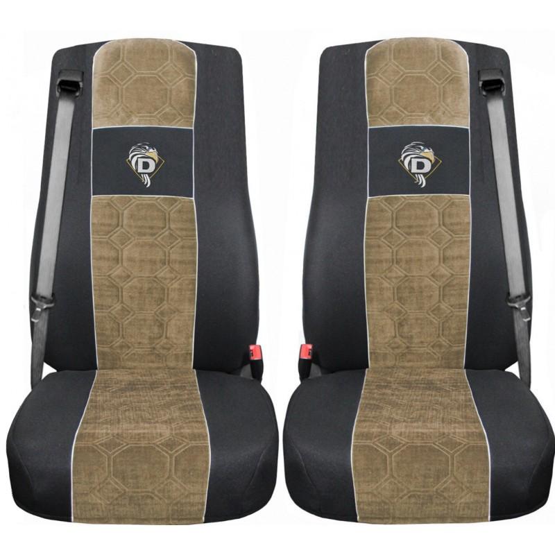 Schonbezüge Auto Sitzbezüge Velour - Stoff für LKW DAF XF 105 / XF 106 Schwarz - Beige