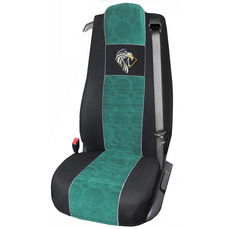 Schonbezüge Auto Sitzbezüge Velour - Stoff für LKW Mercedes Actros MP4 2011 - 2018 Ein Luftgefedert sitz Schwarz - Grün