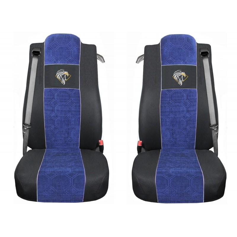 Schonbezüge Auto Sitzbezüge Velour - Stoff für LKW Mercedes Actros MP4 2011 - 2018 Schwarz - Blau