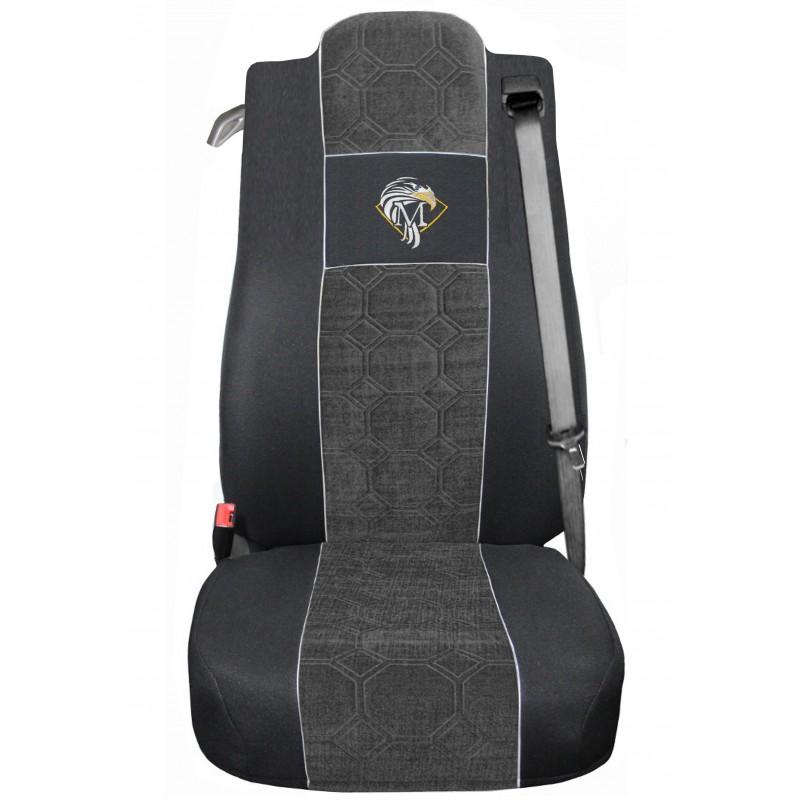 Schonbezüge Auto Sitzbezüge Velour - Stoff für LKW Mercedes Actros MP4 2011 - 2018 Ein Luftgefedert sitz Schwarz - Grau