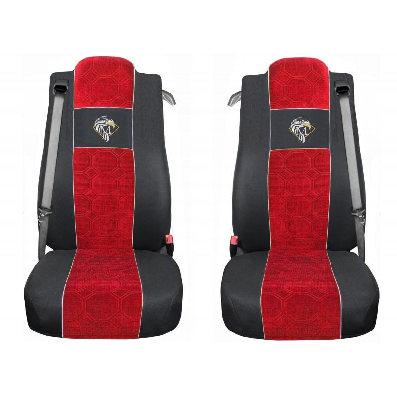 Schonbezüge Auto Sitzbezüge Velour - Stoff für LKW Mercedes Actros MP4 2011 - 2018 Schwarz - Rot