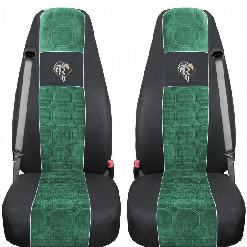 Schonbezüge Auto Sitzbezüge Velour - Stoff für LKW Renault Premium ab 2001 Schwarz - Grün