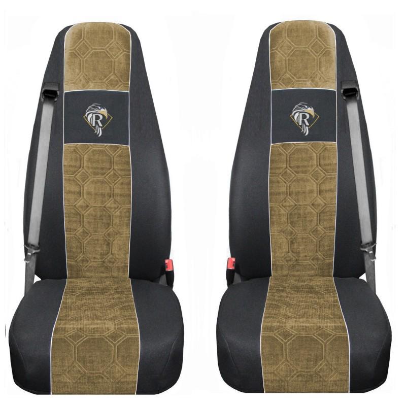 Schonbezüge Auto Sitzbezüge Velour - Stoff für LKW Renault Premium ab 2001 Schwarz - Beige