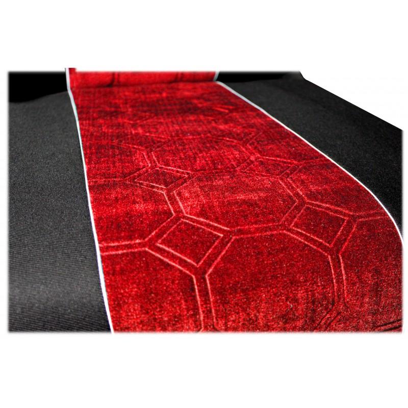 Schonbezüge Auto Sitzbezüge Velour - Stoff für LKW Renault Premium ab 2001 Schwarz - Rot