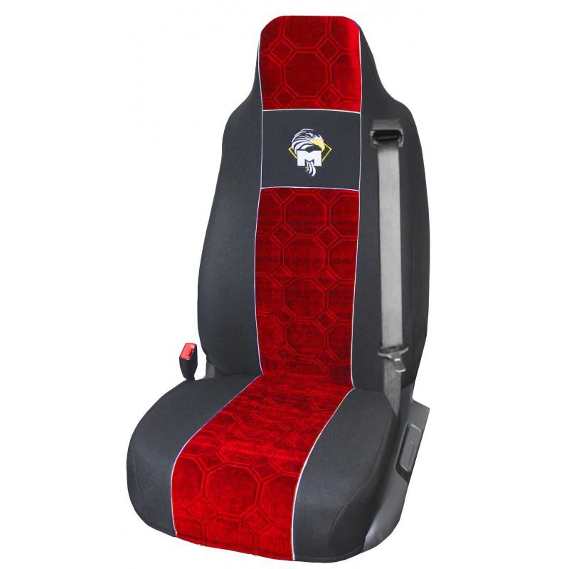 Schonbezüge Auto Sitzbezüge Velour - Stoff für LKW MAN TGA TGS TGM TGL TGX Schwarz - Rot