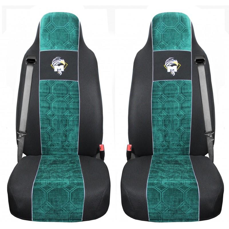Schonbezüge Auto Sitzbezüge Velour - Stoff für LKW MAN TGA TGS TGM TGL TGX Schwarz - Grün