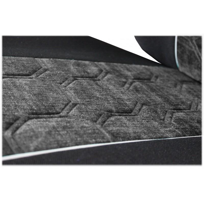 Schonbezüge Auto Sitzbezüge Velour - Stoff für LKW Volvo FH4 ab 2008 Ohne Integrierten Sicherheitsgurt Schwarz - Grau