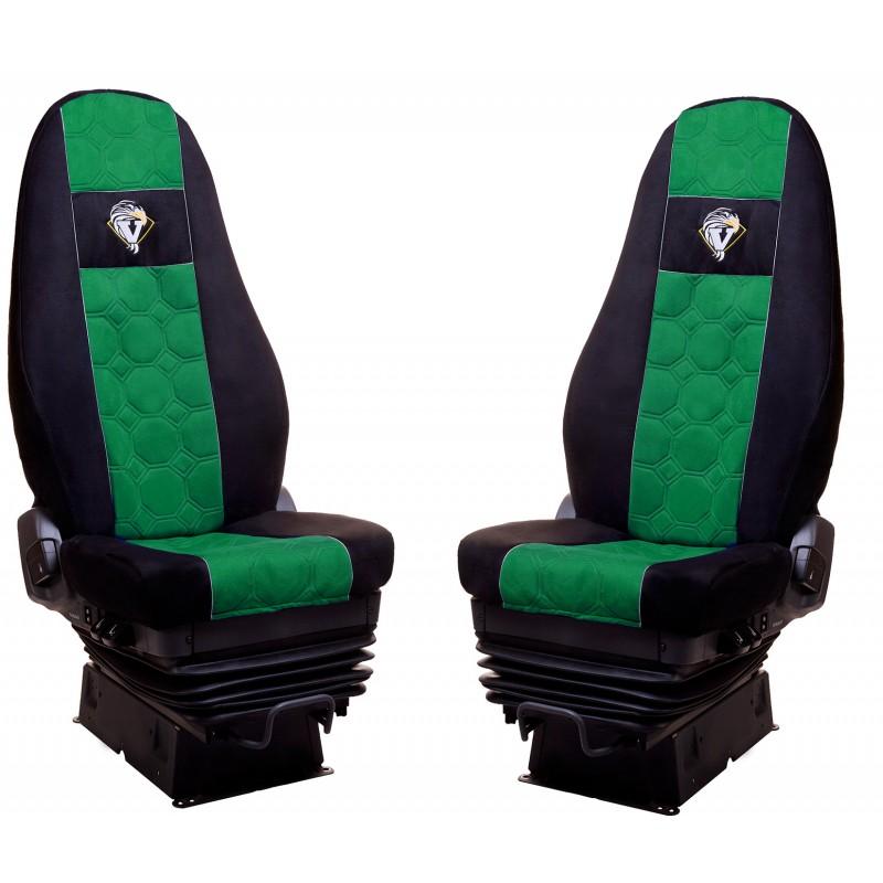 Schonbezüge Auto Sitzbezüge Velour - Stoff für LKW Volvo FH4 ab 2008 Ohne Integrierten Sicherheitsgurt Schwarz - Grün