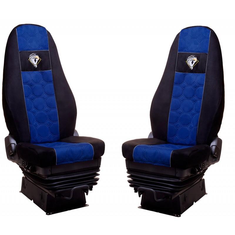 Schonbezüge Auto Sitzbezüge Velour - Stoff für LKW Volvo FH4 ab 2008 Ohne Integrierten Sicherheitsgurt Schwarz - Blau