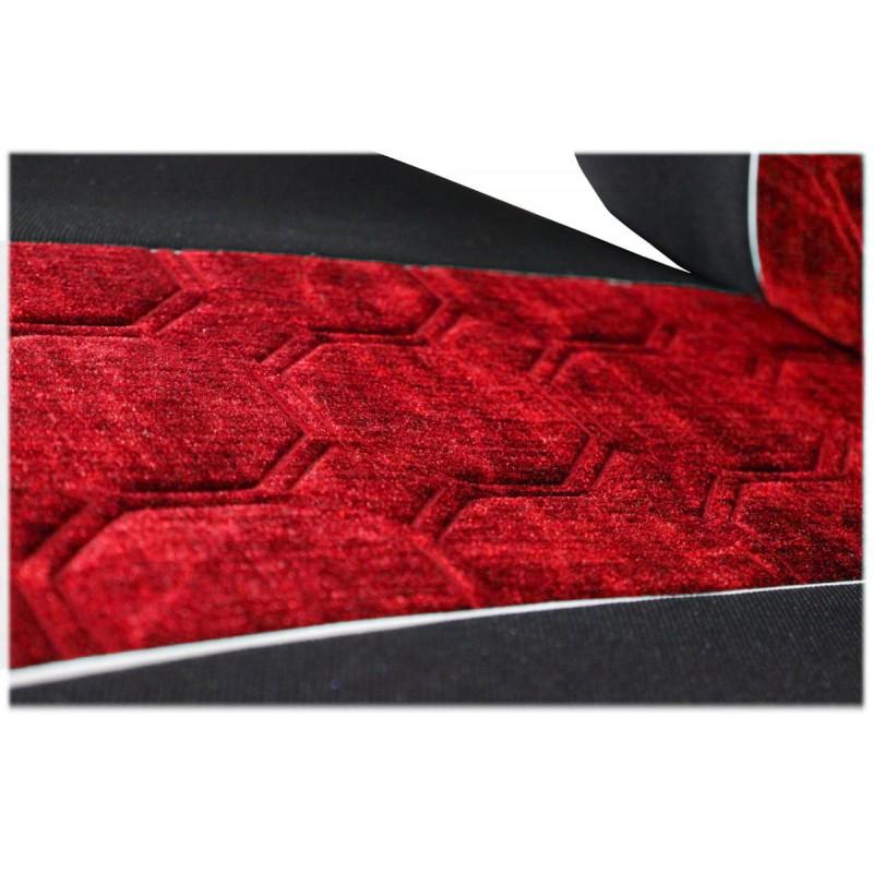 Schonbezüge Auto Sitzbezüge Velour - Stoff für LKW Volvo FH4 ab 2008 Ohne Integrierten Sicherheitsgurt Schwarz - Rot