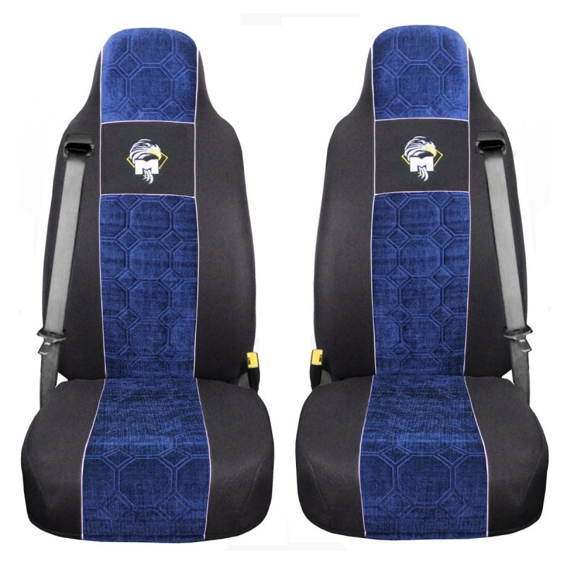 Schonbezüge Auto Sitzbezüge Velour - Stoff für LKW MAN TGA TGS TGM TGL TGX Schwarz - Blau