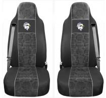 Schonbezüge Auto Sitzbezüge Velour - Stoff für LKW MAN TGA TGS TGM TGL TGX Schwarz - Grau
