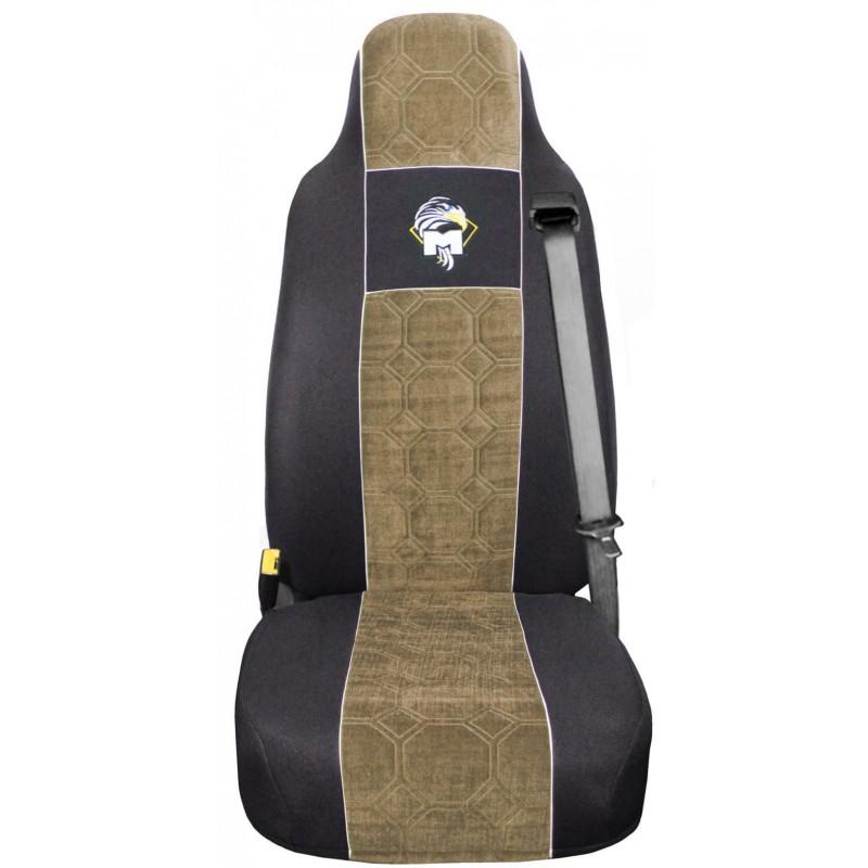 Schonbezüge Auto Sitzbezüge Velour - Stoff für LKW MAN TGA TGS TGM TGL TGX Schwarz - Beige