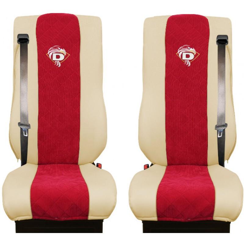 Schonbezüge Auto Sitzbezüge Kunstleder - Stoff für LKW DAF XF 105 / XF 106 Beige - Rot