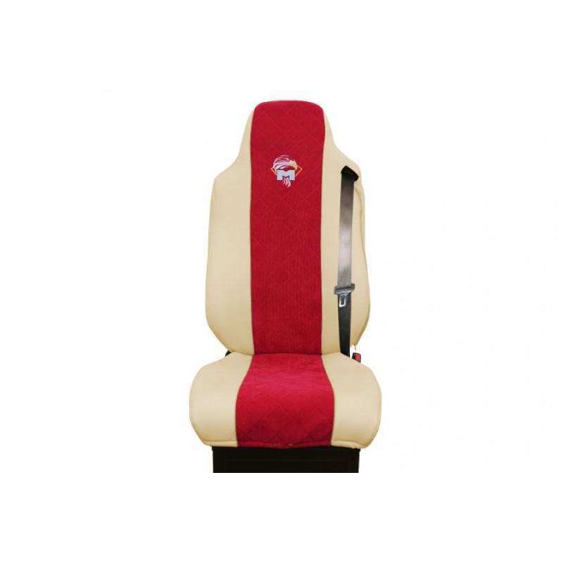 Schonbezüge Auto Sitzbezüge Kunstleder - Stoff für LKW MAN TGA TGS TGM TGL TGX Beige - Rot