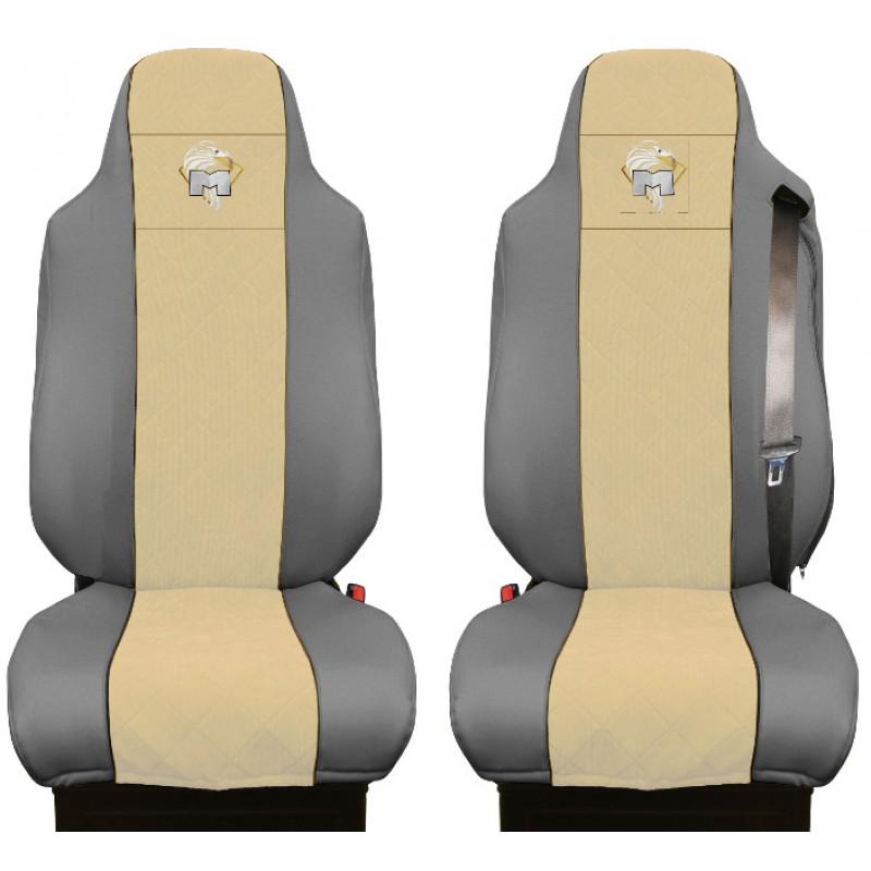 Schonbezüge Auto Sitzbezüge Kunstleder - Stoff für LKW MAN TGA TGS TGM TGL TGX Grau - Beige