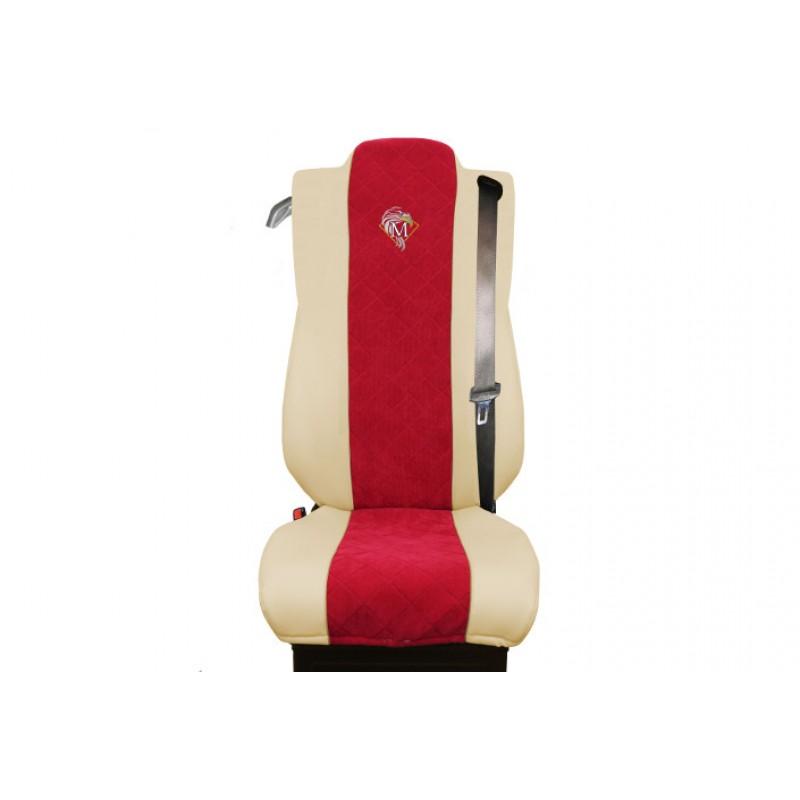Schonbezüge Auto Sitzbezüge Kunstleder - Stoff für LKW Mercedes Actros MP4 2011 - 2018 Klappbarer Sitz Beige - Rot