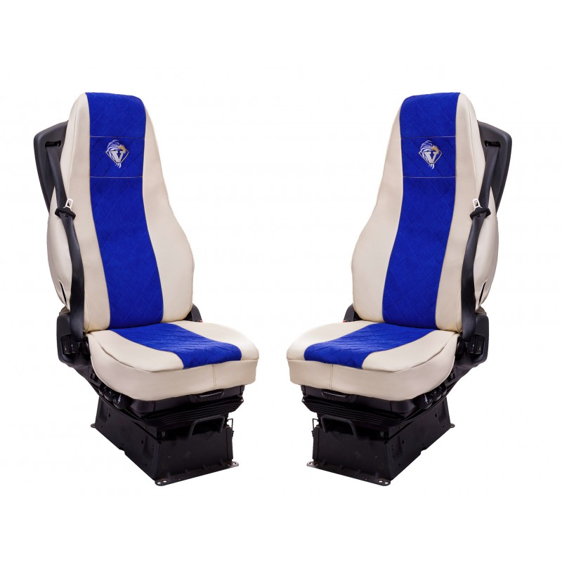 Schonbezüge Auto Sitzbezüge Kunstleder - Stoff für LKW Volvo FH4 ab 2012  Beige - Blau