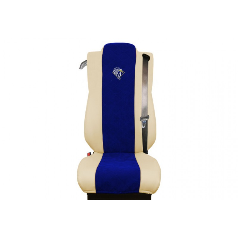 Schonbezüge Auto Sitzbezüge Kunstleder - Stoff für LKW Mercedes Actros MP4 2011 - 2018 Klappbarer Sitz Beige - Blau