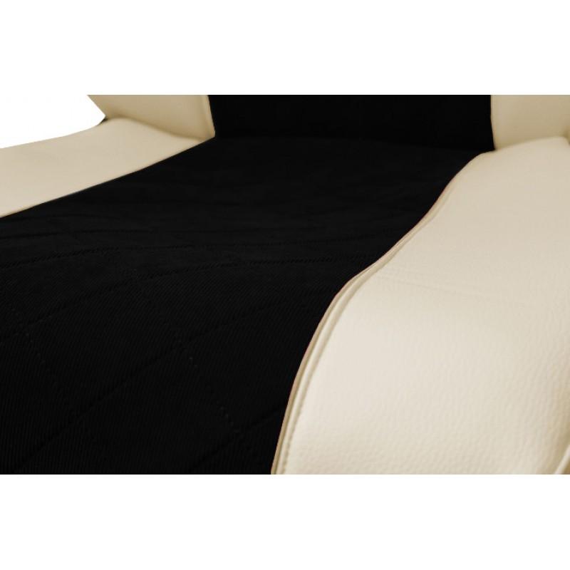 Schonbezüge Auto Sitzbezüge Kunstleder - Stoff für LKW Mercedes Actros MP4 2011- 2018 Klappbarer Sitz Beige - Schwarz