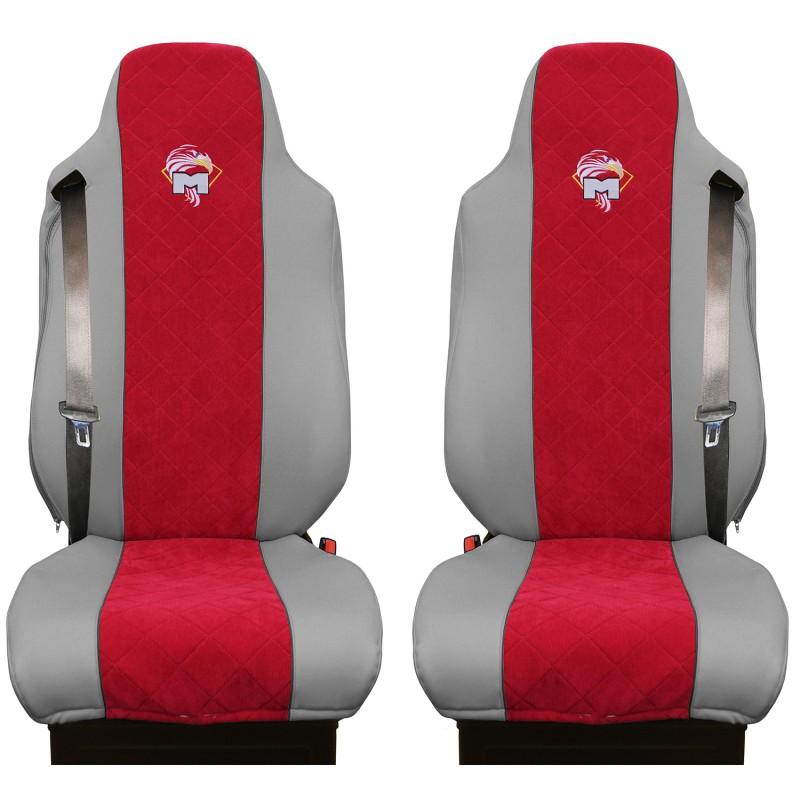 Schonbezüge Auto Sitzbezüge Kunstleder - Stoff für LKW MAN TGA TGS TGM TGL TGX Grau - Rot