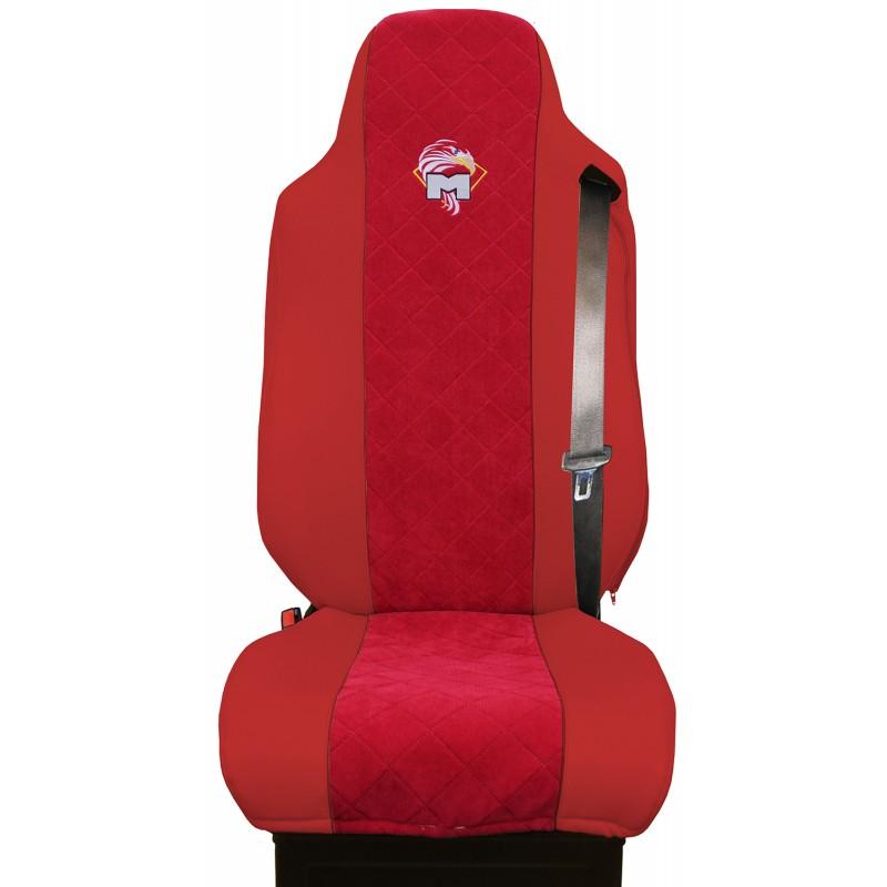 Schonbezüge Auto Sitzbezüge Kunstleder - Stoff für LKW MAN TGA TGS TGM TGL TGX Rot - Rot
