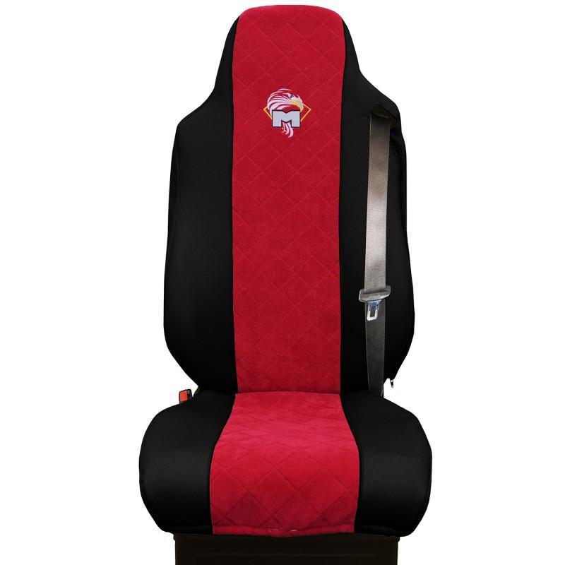 Schonbezüge Auto Sitzbezüge Kunstleder - Stoff für LKW MAN TGA TGS TGM TGL TGX Schwarz - Rot