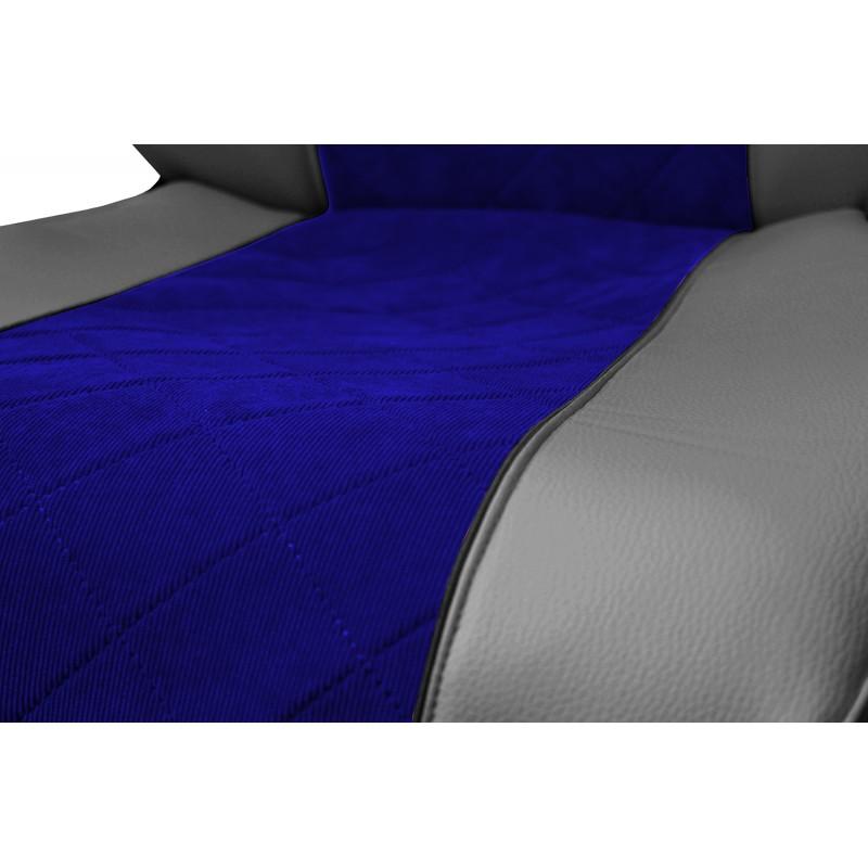 Schonbezüge Auto Sitzbezüge Kunstleder - Stoff für LKW MAN TGA TGS TGM TGL TGX Grau - Blau