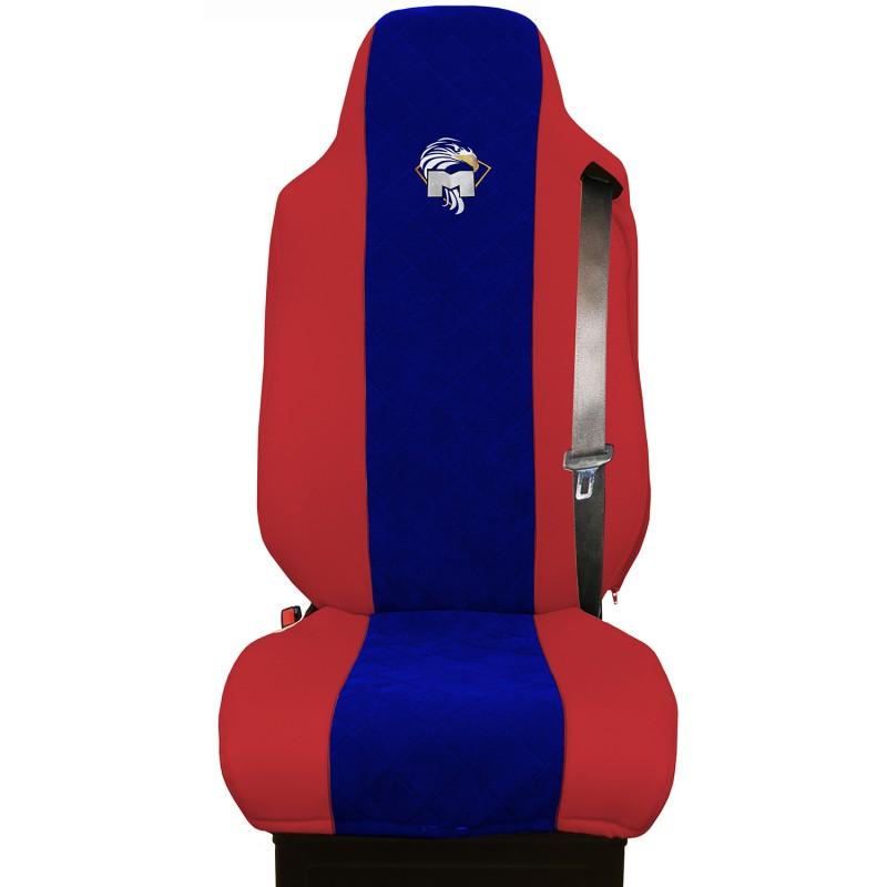 Schonbezüge Auto Sitzbezüge Kunstleder - Stoff für LKW MAN TGA TGS TGM TGL TGX Rot - Blau