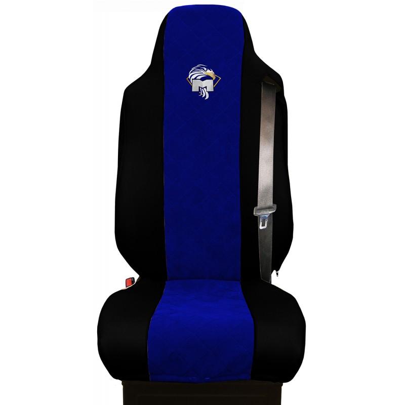 Schonbezüge Auto Sitzbezüge Kunstleder - Stoff für LKW MAN TGA TGS TGM TGL TGX Schwarz - Blau