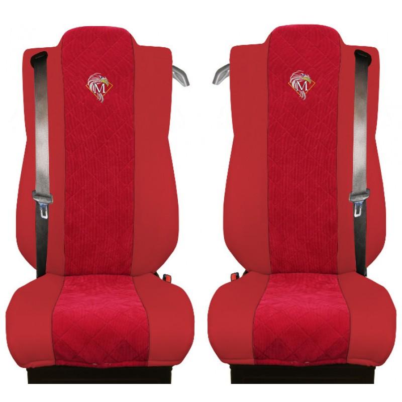 Schonbezüge Auto Sitzbezüge Kunstleder - Stoff für LKW Mercedes Actros MP4 2011 - 2018 Rot - Rot