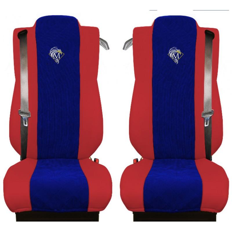 Schonbezüge Auto Sitzbezüge Kunstleder - Stoff für LKW Mercedes Actros MP4 2011 - 2018 Rot - Blau