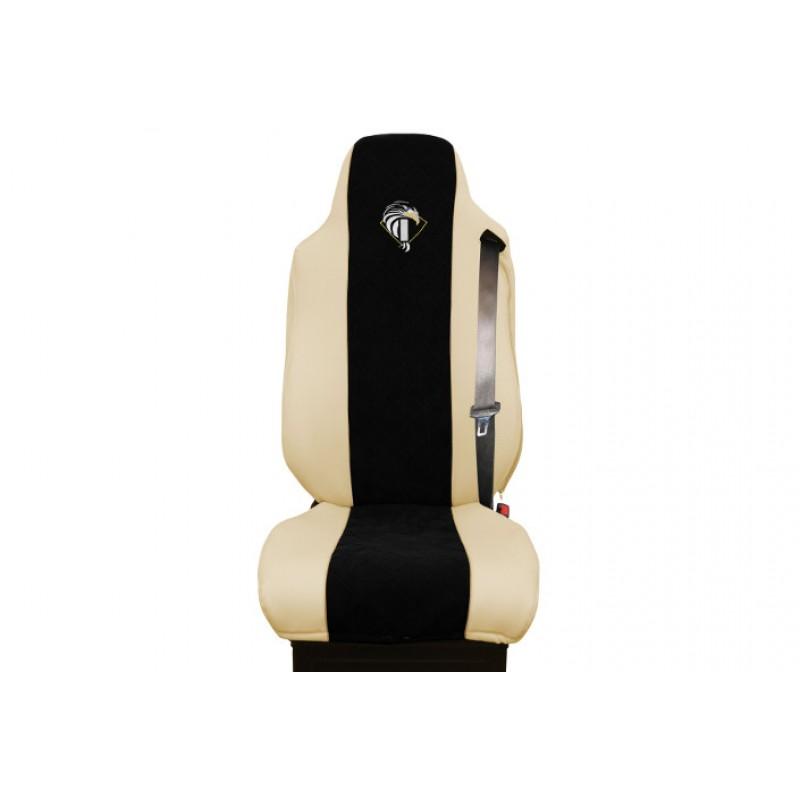 Schonbezüge Auto Sitzbezüge Kunstleder - Stoff für LKW Iveco Stralis Eco Stralis Trakker Eurocargo Beige - Schwarz