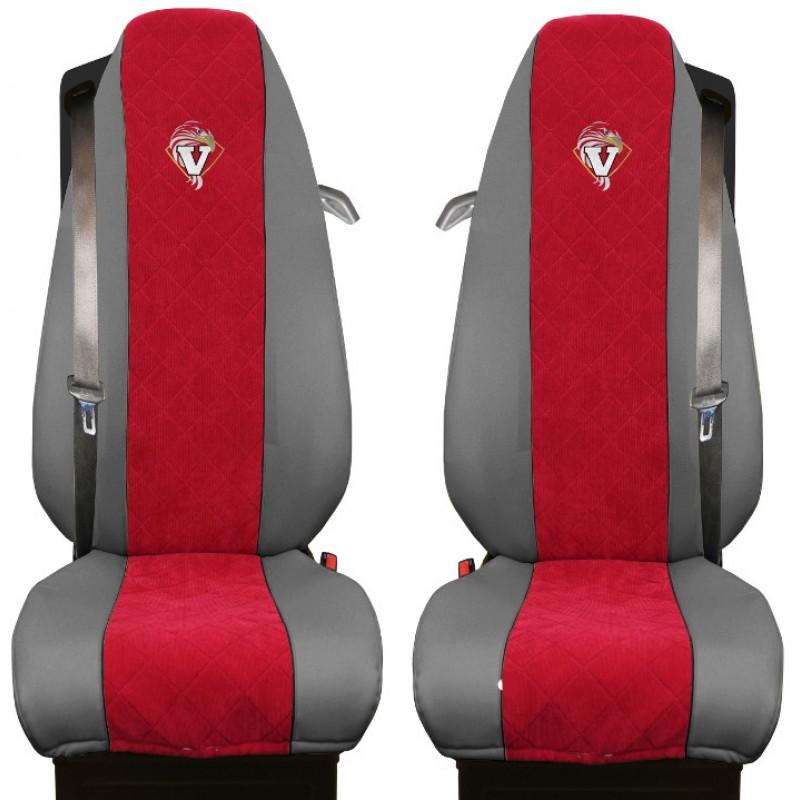 Schonbezüge Auto Sitzbezüge Kunstleder - Stoff für LKW Volvo FH4 ab 2012 Grau - Rot