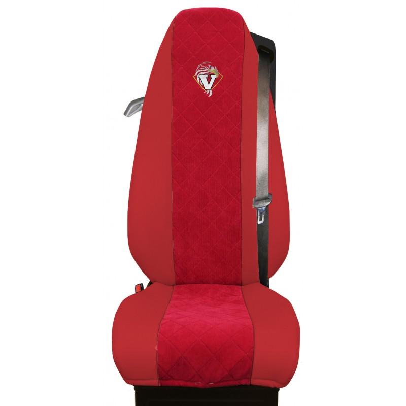 Schonbezüge Auto Sitzbezüge Kunstleder - Stoff für LKW Volvo FH4 ab 2012 Rot - Rot