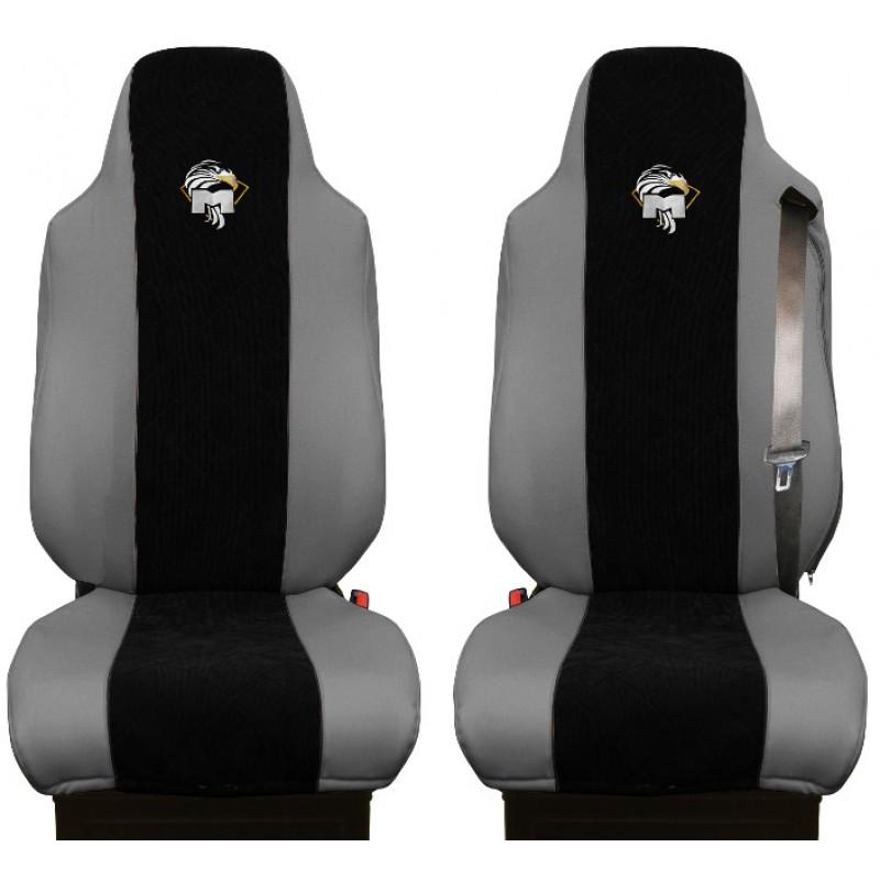 Schonbezüge Auto Sitzbezüge Kunstleder - Stoff für LKW MAN TGA TGS TGM TGL TGX Grau - Schwarz