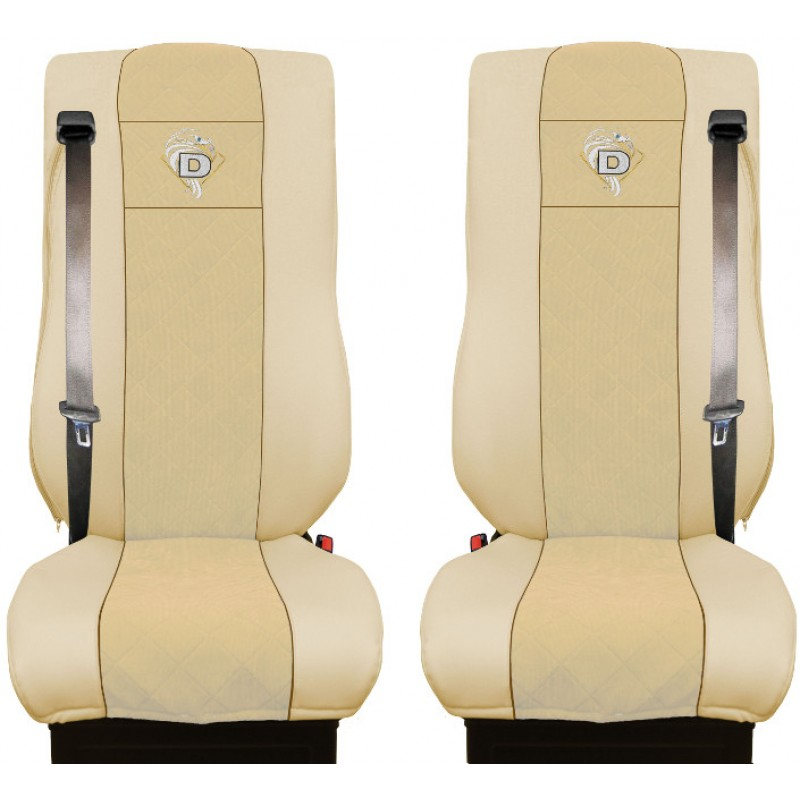 Schonbezüge Auto Sitzbezüge Kunstleder - Stoff für LKW DAF XF 105 / XF 106 Beige - Beige