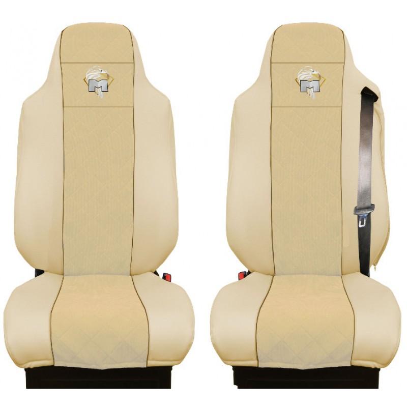Schonbezüge Auto Sitzbezüge Kunstleder - Stoff für LKW MAN TGA TGS TGM TGL TGX Beige - Beige