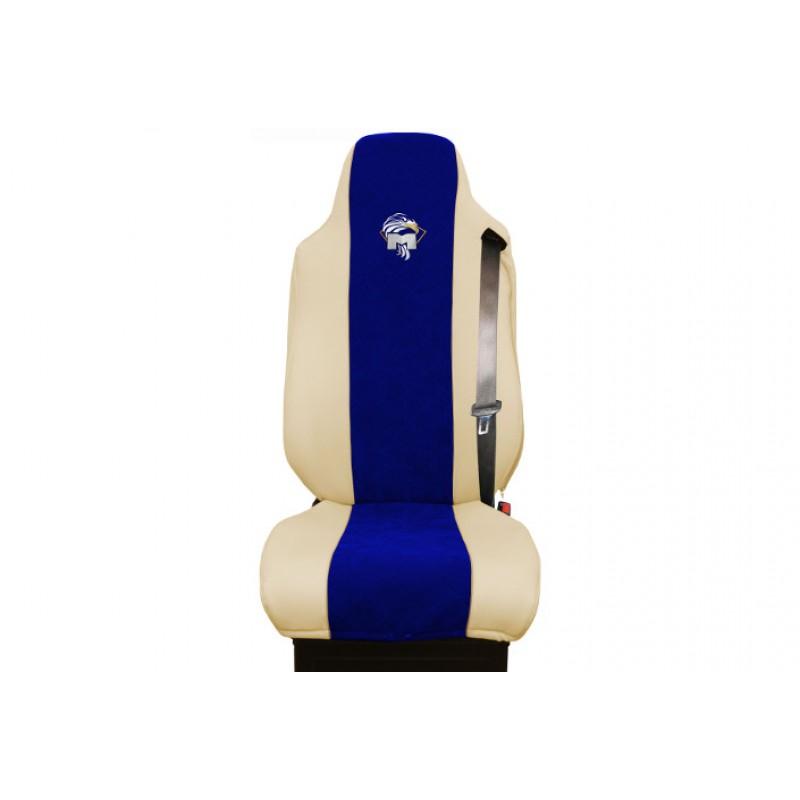 Schonbezüge Auto Sitzbezüge Kunstleder - Stoff für LKW MAN TGA TGS TGM TGL TGX Beige - Blau