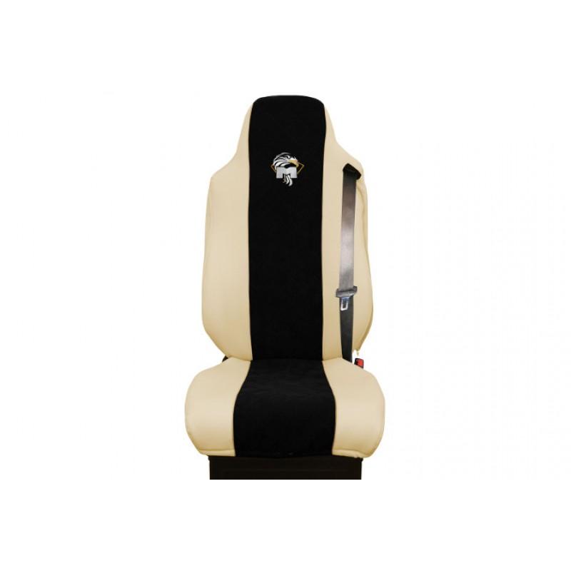 Schonbezüge Auto Sitzbezüge Kunstleder - Stoff für LKW MAN TGA TGS TGM TGL TGX Beige - Schwarz