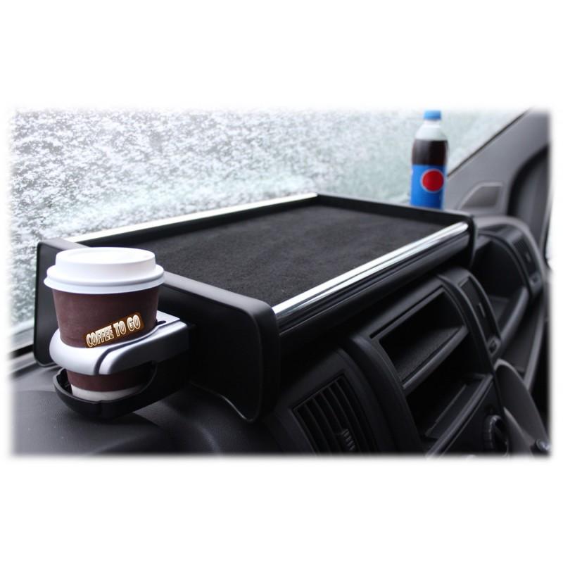 Armaturen Mittelablage Tisch Schwarz - Grau mit Getränkehalter passend für Fiat Ducato - Citroen Jumper - Peugeot Boxer ab 2006