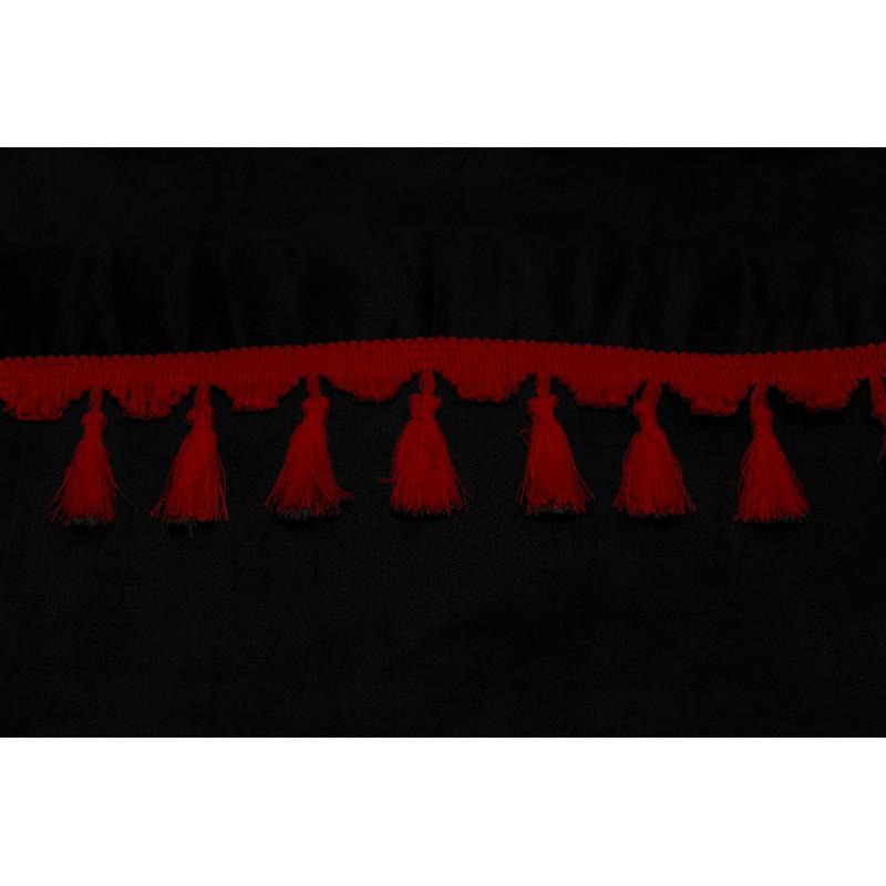 Frontscheibenborde Gardinen Vorhänge Schwarz Rot passend für Iveco Trakker / Stralis / EcoStralis / Eurocargo / Hi-way / Hi-Land