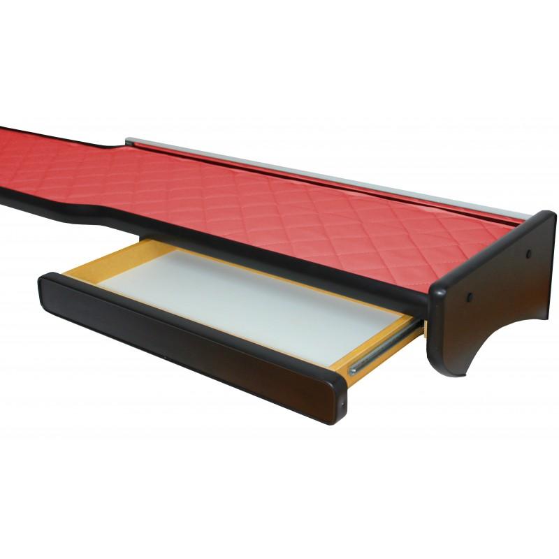 Ablagetisch aus Kunstleder in Rot passend für MAN TGX mit Spurassistenten