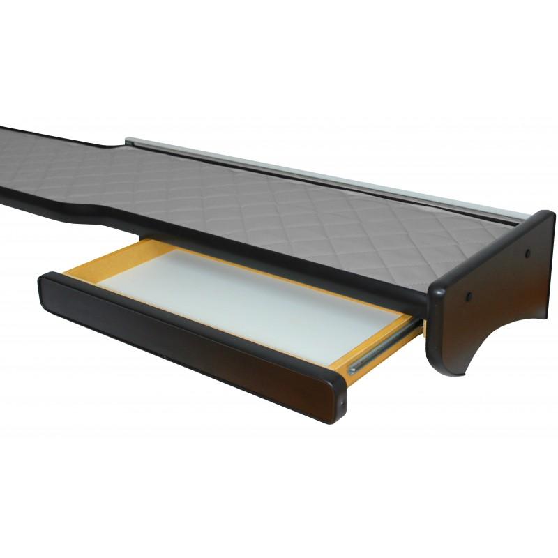Ablagetisch aus Kunstleder in Grau passend für MAN TGX mit Spurassistenten